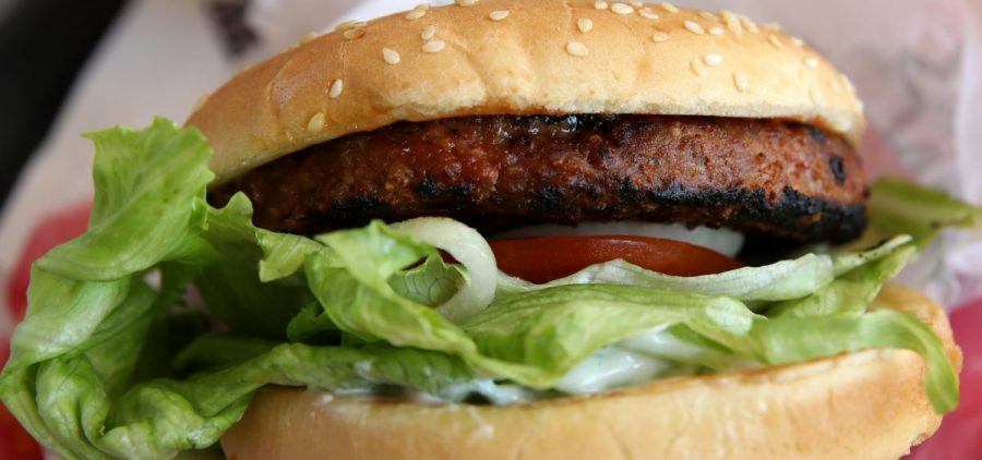 A Beyond Meat burger is displayed at a Carl's Jr. restaurant in San Francisco. The rise of meat alternatives made of plants, or even grown from animal cells, has sparked new laws on food labeling.