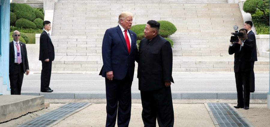 A handout photo provided by Dong-A Ilbo of North Korean leader Kim Jong Un and U.S. President Donald Trump inside the demilitarized zone separating the South and North Korea on June 30.