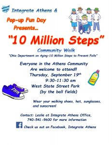 "A flier for the Pop Up Fun Day ""10 Million Steps"" Community Walk"
