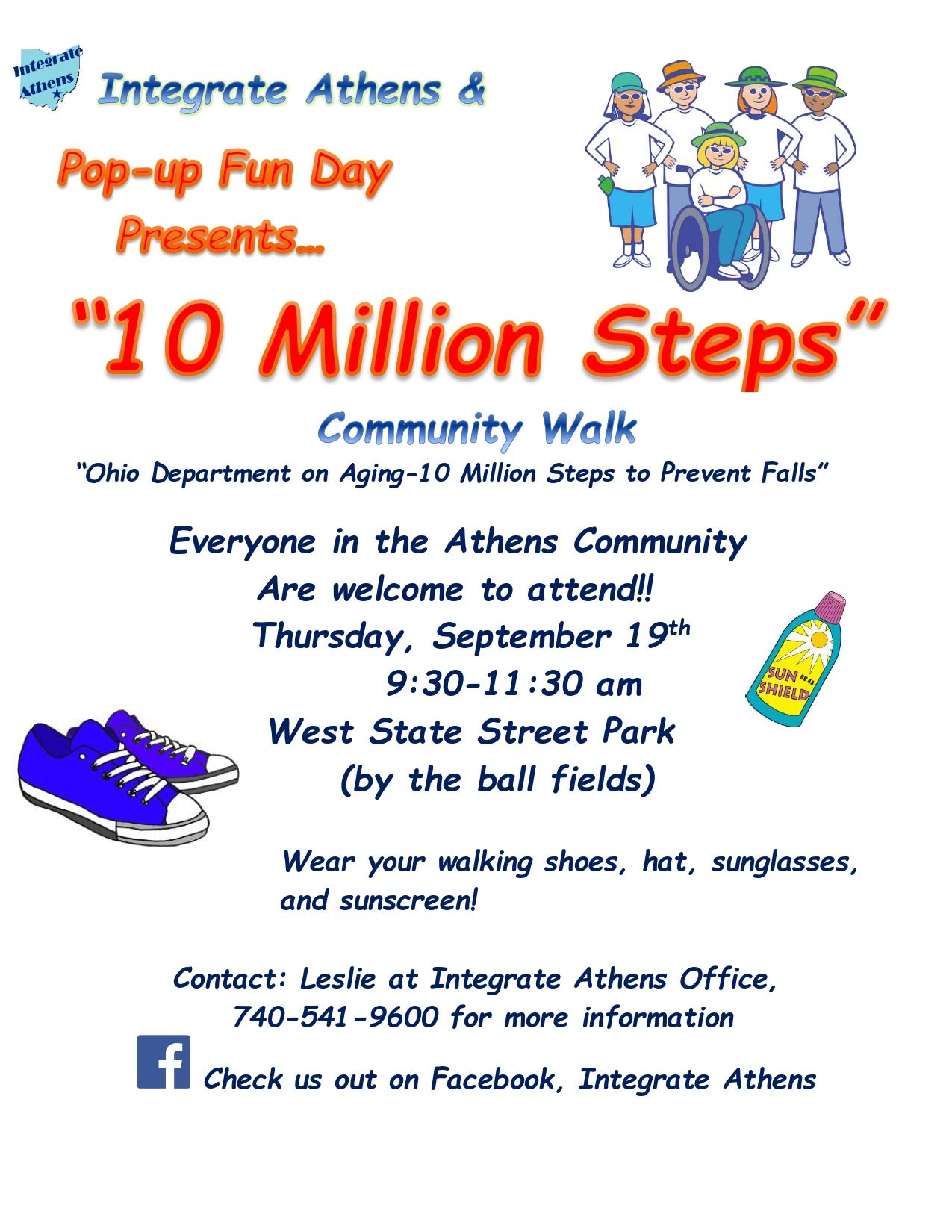 """A flier for the Pop Up Fun Day """"10 Million Steps"""" Community Walk"""