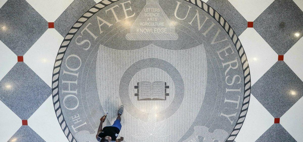 Pedestrians pass through The Ohio State University's student union