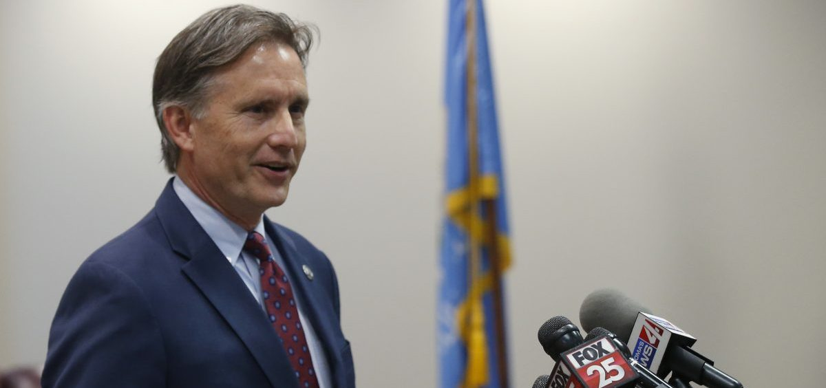 Oklahoma Attorney General Mike Hunter speaks to the media at a news conference following closing arguments in Oklahoma's ongoing opioid drug lawsuit against Johnson & Johnson Monday, July 15, 2019, in Norman, Okla.