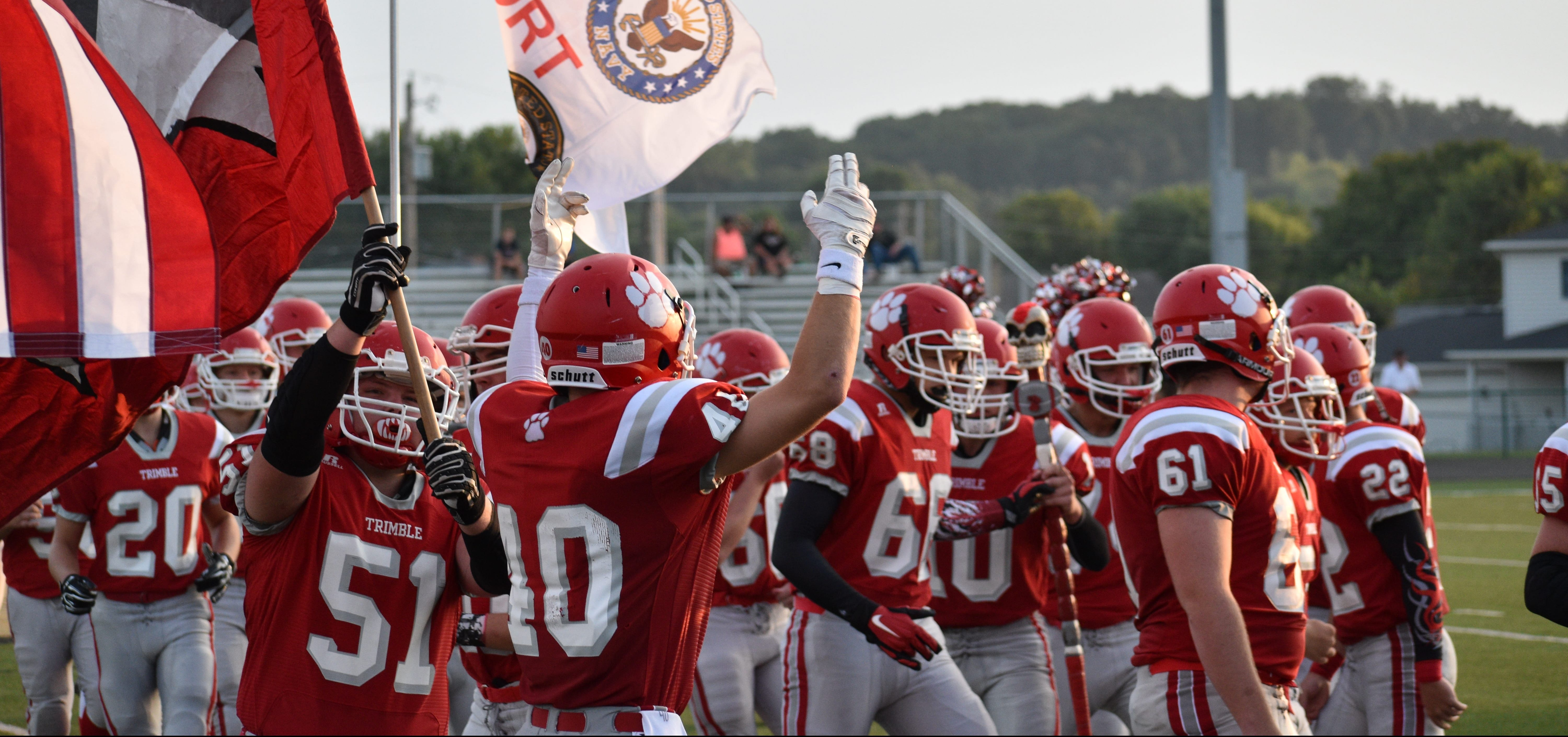 Trimble players rally before a game.