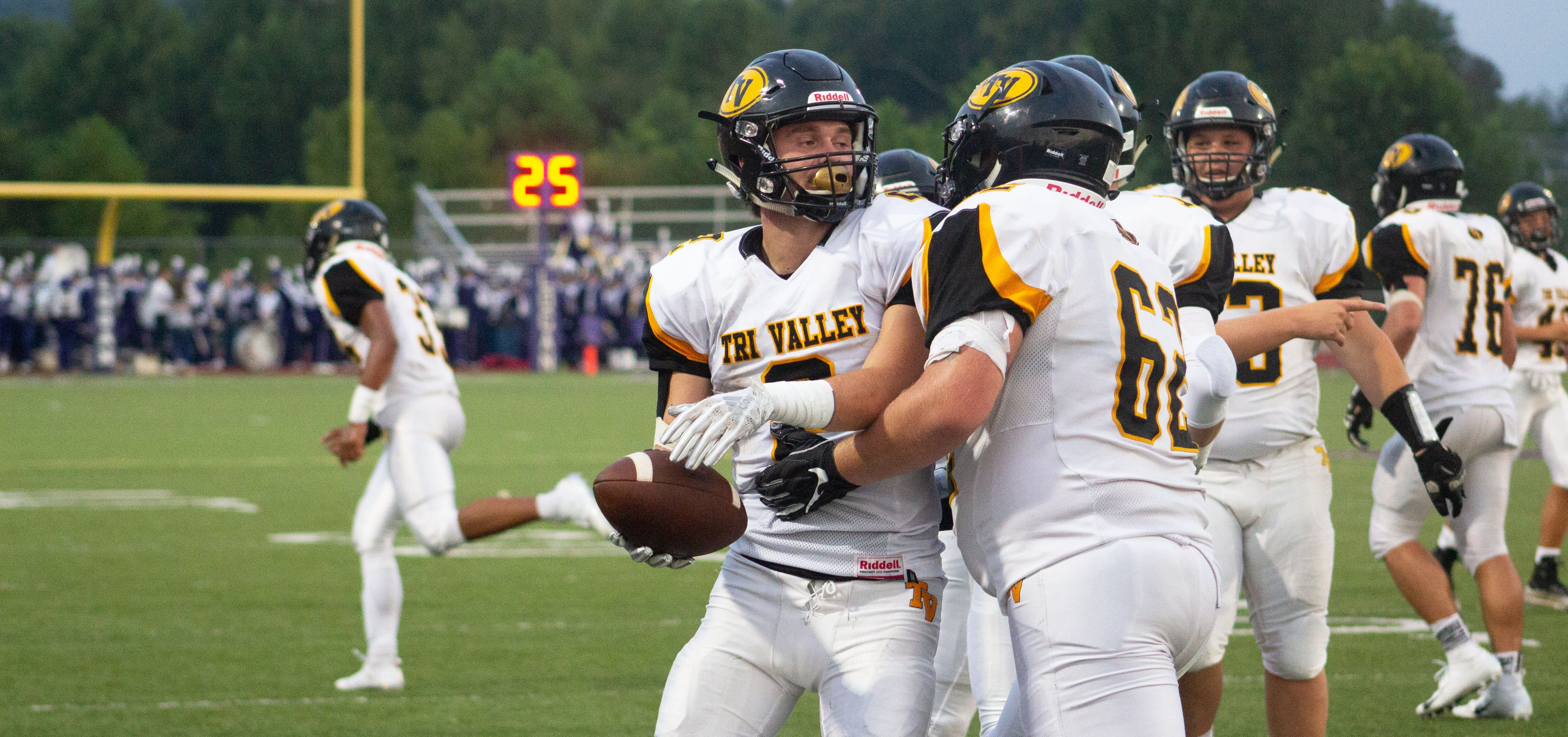Tri Valley Scotties finish a play.