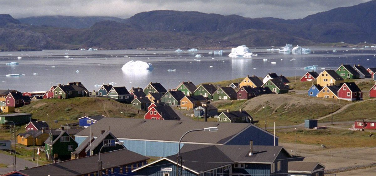 Giant icebergs float in the fjord in Narsaq, southern Greenland, earlier this year.