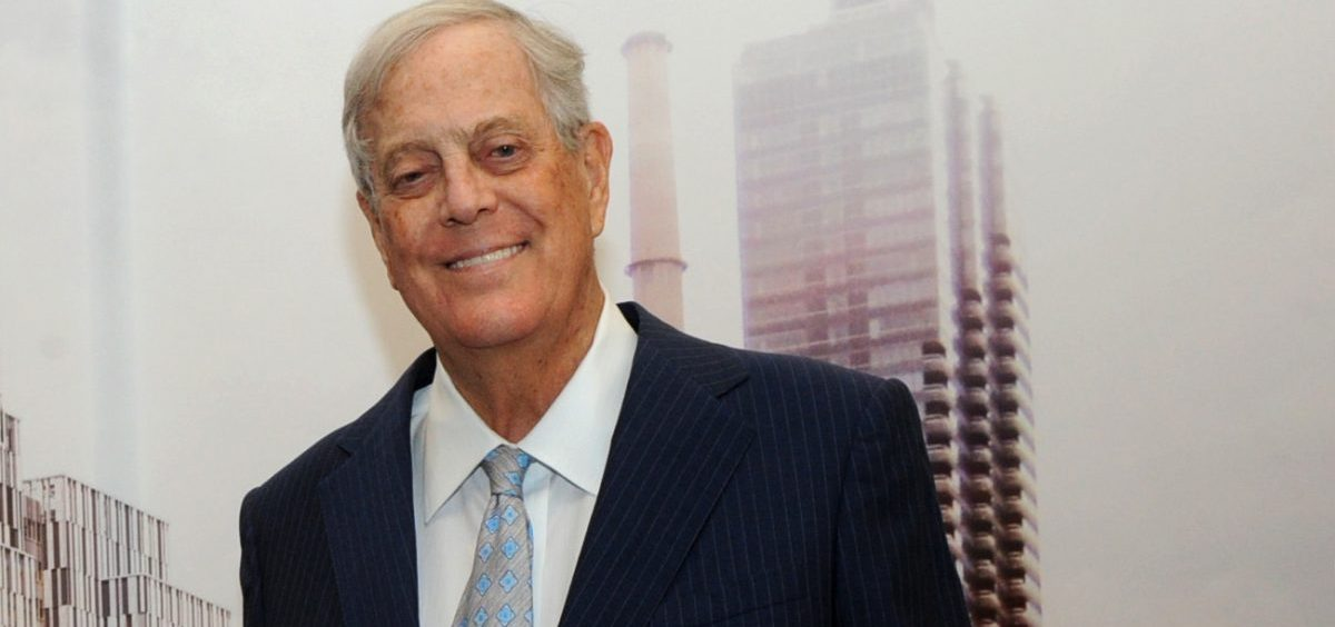 David Koch with a rendering of The David H. Koch Center for Cancer Care in 2015. The billionaire underwrote both old-fashioned charitable causes and the conservative movement, reshaping U.S. politics.
