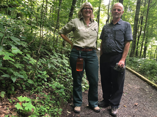 Melissa Thomas-Van Gundy, left, with Rodney Bartgis, who rediscovered the Running Buffalo Clover 30 years ago.