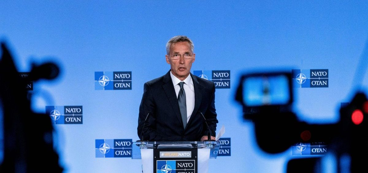 NATO Secretary General Jens Stoltenberg speaks at a press conference about the end of the Intermediate-Range Nuclear Forces treaty at the NATO headquarters in Brussels on Friday.