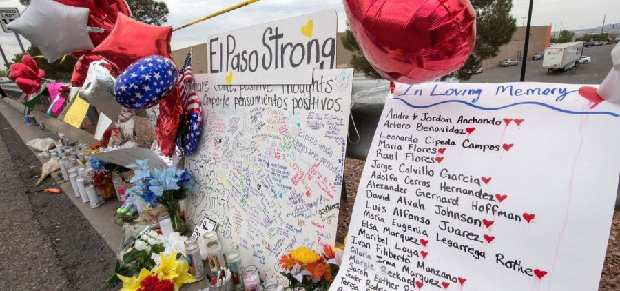 The names of the shooting victims adorn a makeshift memorial at the Cielo Vista Mall Walmart in El Paso, Texas, on August 6, 2019. The August 3rd shooting left 22 people dead.