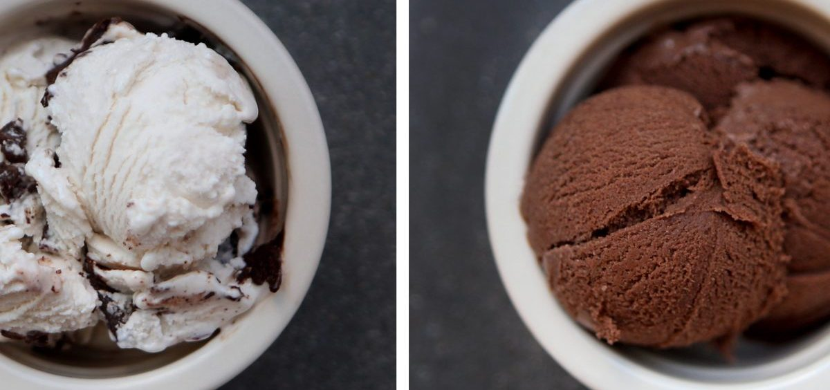 Two scoops of Perfect Day's vegan ice cream, made with synthetic whey proteins. Protein from whey, a byproduct of cheese-making, is often used to give frozen desserts a creamy texture. Perfect Day makes its whey proteins using microbes.