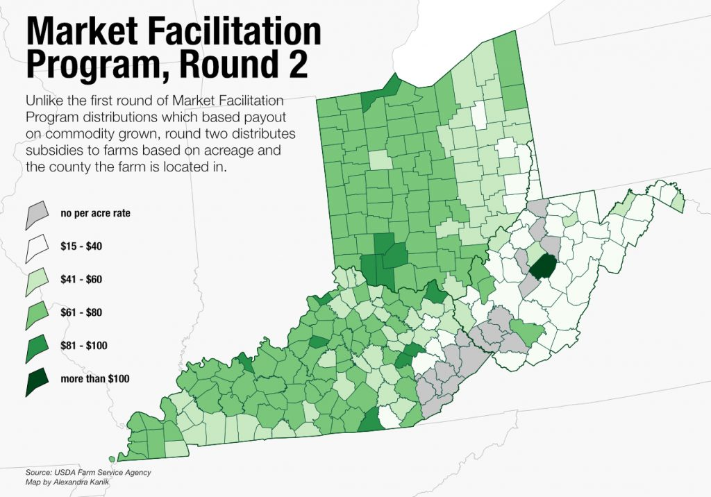A map graphic of Kentucky, Ohio and West Virginia showing market facilitation payouts.