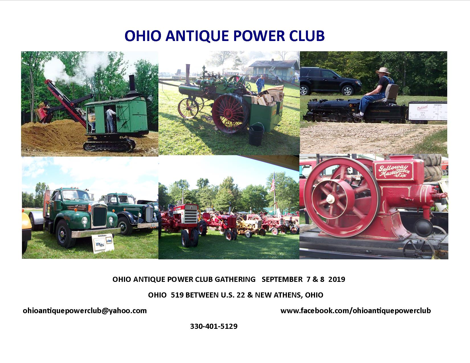 A flier for the Ohio Antique Power Club