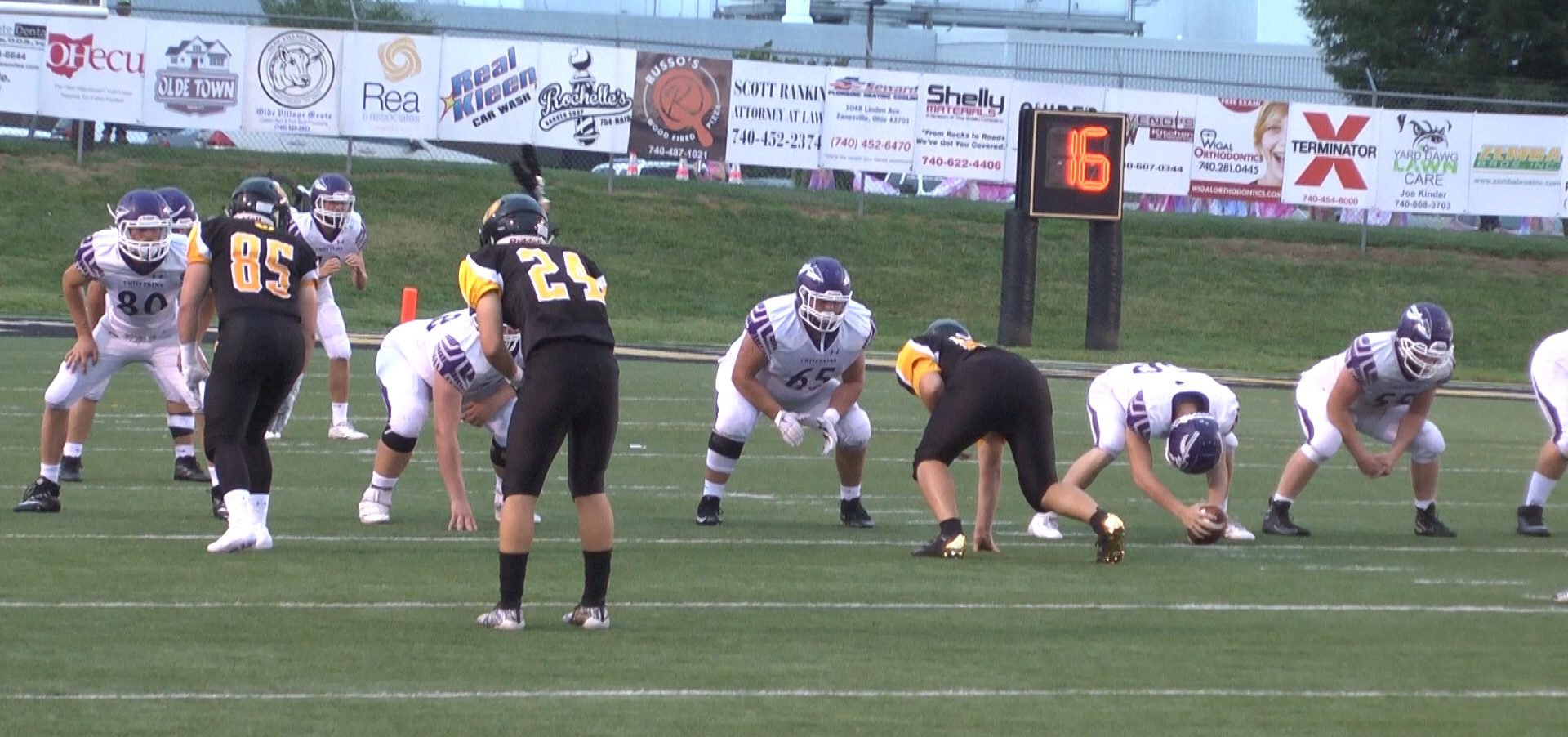 Logan lines up against the Tri-Valley defense