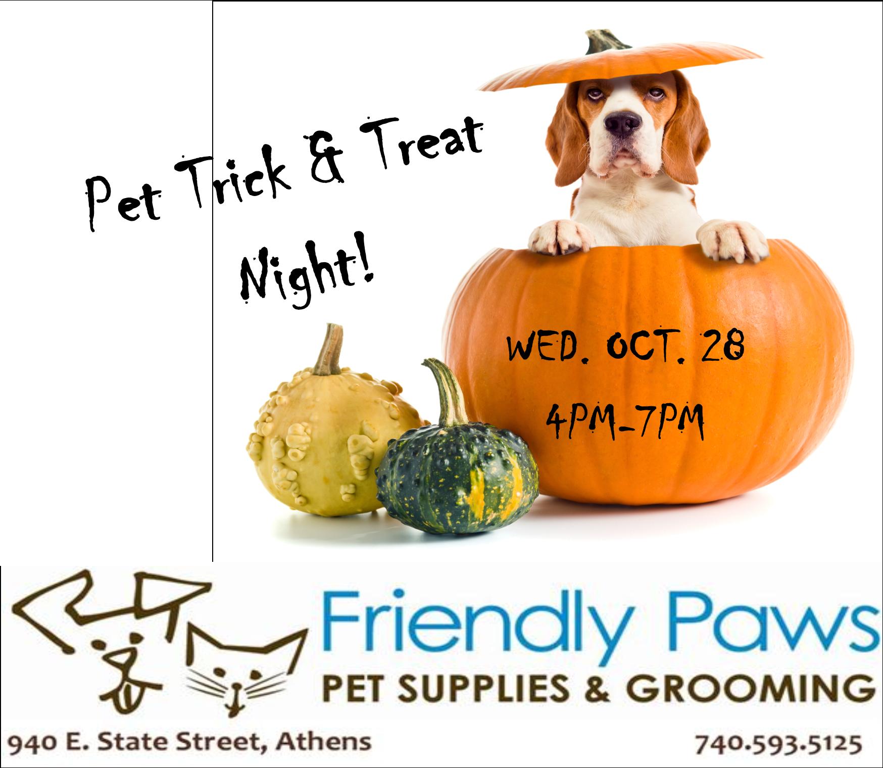 Pet Trick and Treat Night flier