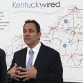 This Sept. 16, 2016 file photo, shows Republican Kentucky Gov. Matt Bevin, right, and U.S. Rep. Hal Rogers discussing the status of the statewide broadband network at the state Capitol in Frankfort, Ky. Launched with considerable fanfare in 2015