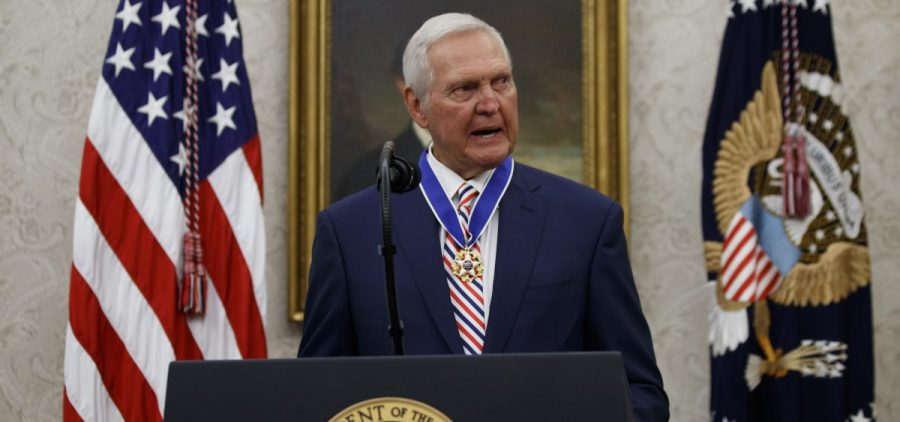 Former NBA basketball player and general manager Jerry West speaks after receiving the Presidential Medal of Freedom from President Donald Trump