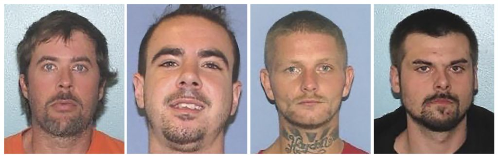 This combination of undated images provided by the Gallia County Sheriff's Office shows from left to right, Brynn Martin, Christopher Clemente, Troy McDaniel Jr. and Lawrence Lee III. Three of the four inmates who overpowered two female corrections officers and escaped from an Ohio county jail on Sunday, Sept. 29, 2019, were caught in North Carolina Monday.
