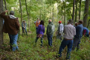 A guide gives a tour of the Blue Rock State Forest