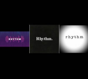 Three pictures side by side show the word rhythm in different fonts