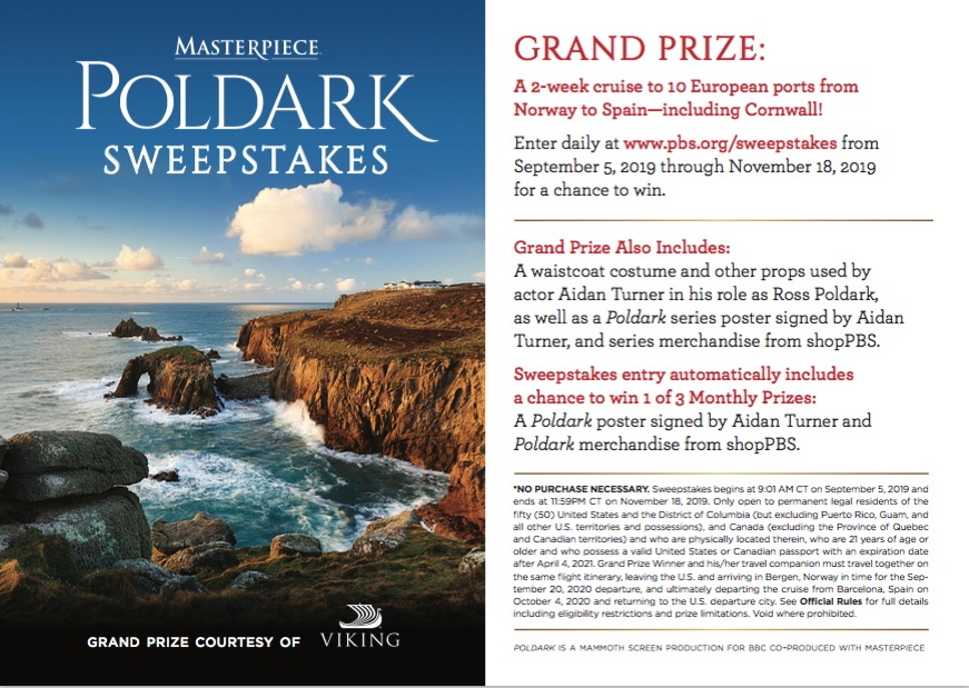 2019 Sweepstakes prizes and rules card