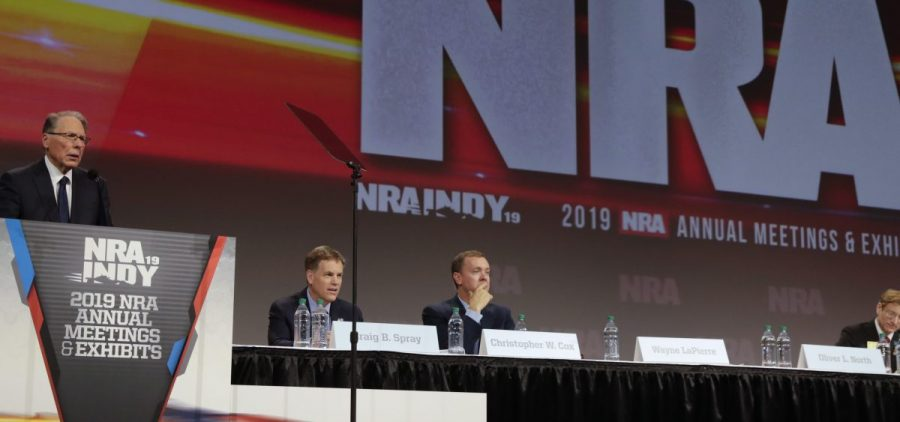 National Rifle Association Chief Executive Wayne LaPierre speaks at the NRA Annual Meeting in Indianapolis in April.