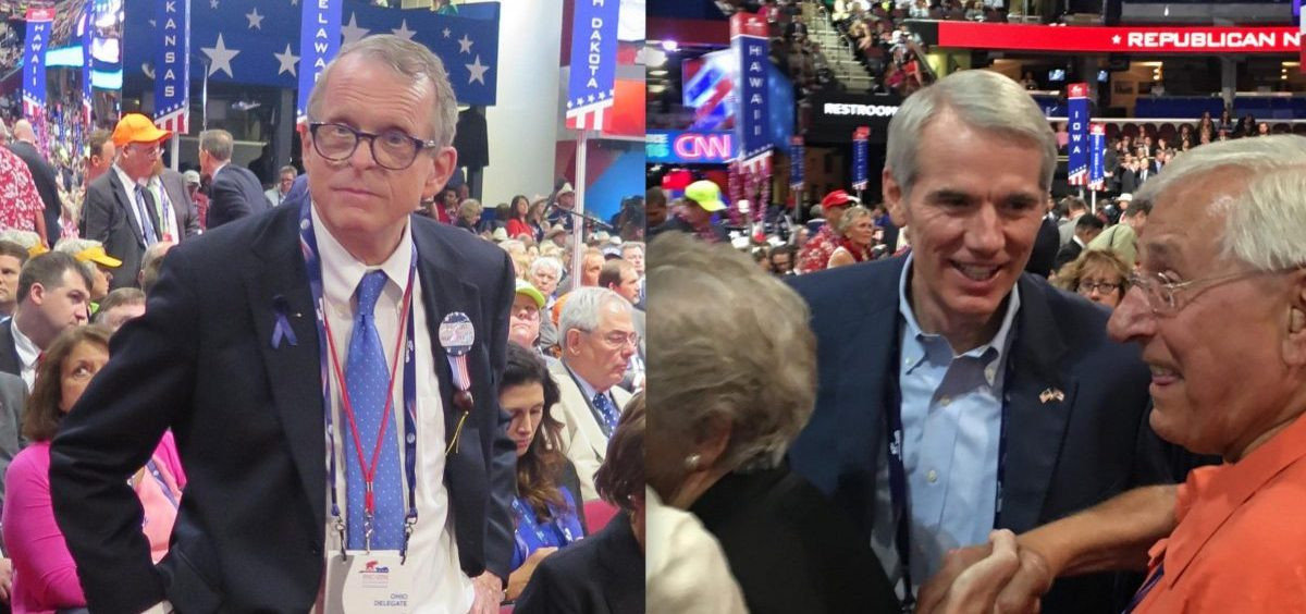 Gov. Mike DeWine (then Ohio Attorney General) and U.S. Sen. Rob Portman were on the floor of the 2016 Republican National Convention, during which Donald Trump got the party's nomination for president.