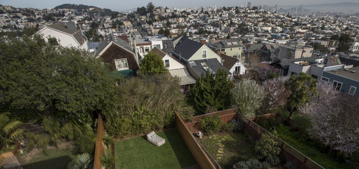 Income inequality in the U.S. grew worse in California and eight other states in 2018, the U.S. Census Bureau says. Here, a file photo shows the view from the balcony of a house listed at $5.5 million in San Francisco.
