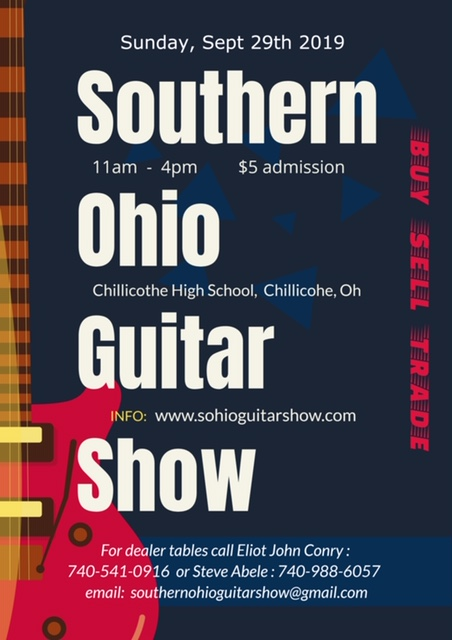 A flier for the Southern Ohio Guitar Show