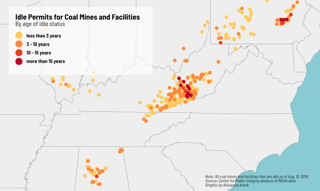 A map of idle mines in Appalachia