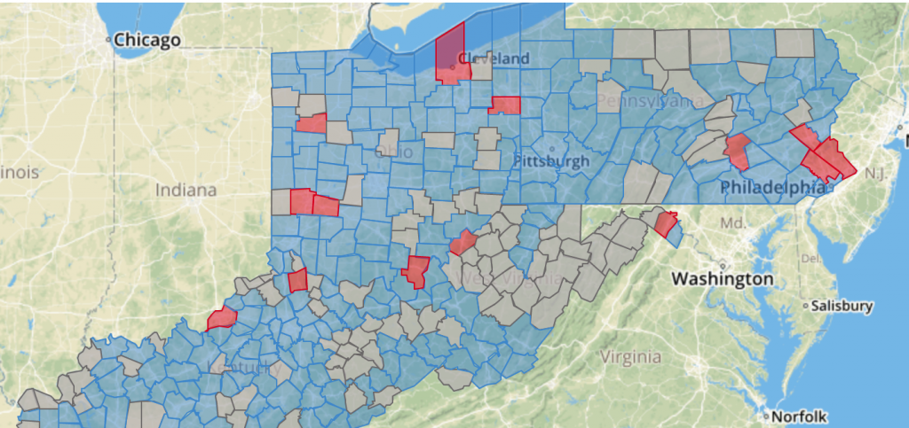 A map highlighting water supplies.