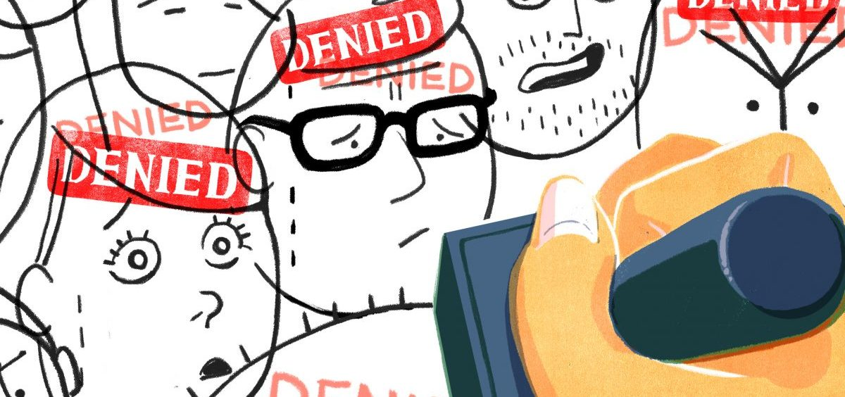 """Applicants stamped with a """"denied"""" stamp."""