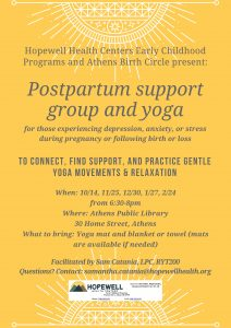 Postpartum support group and yoga flier