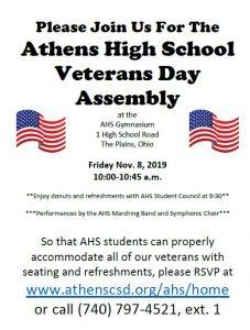 AHS Veterans Day Assembly flier