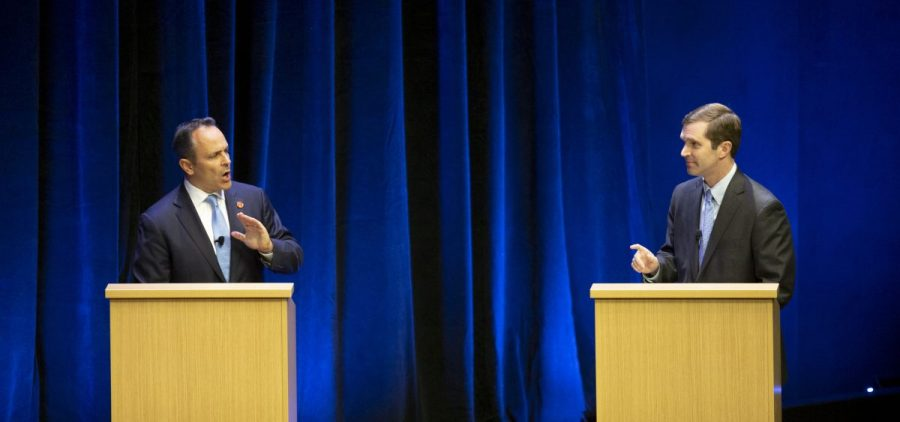 Republican Gov. Matt Bevin, left, and Democratic Attorney General Andy Beshear participate in a debate at the Singletary Center