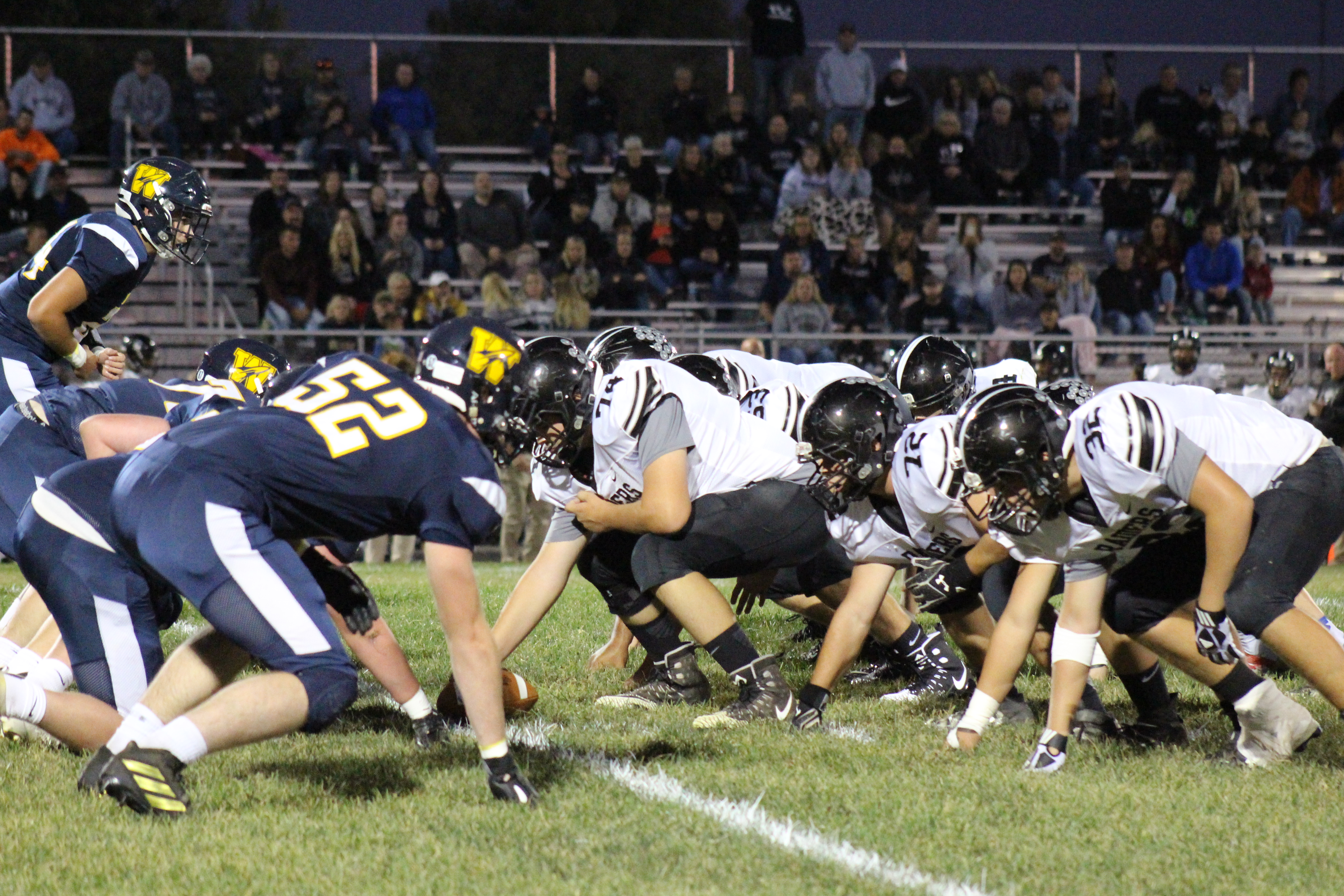 The Wellston Golden Rockets and the River Valley Raiders lineup against each other on Oct. 5, 2015
