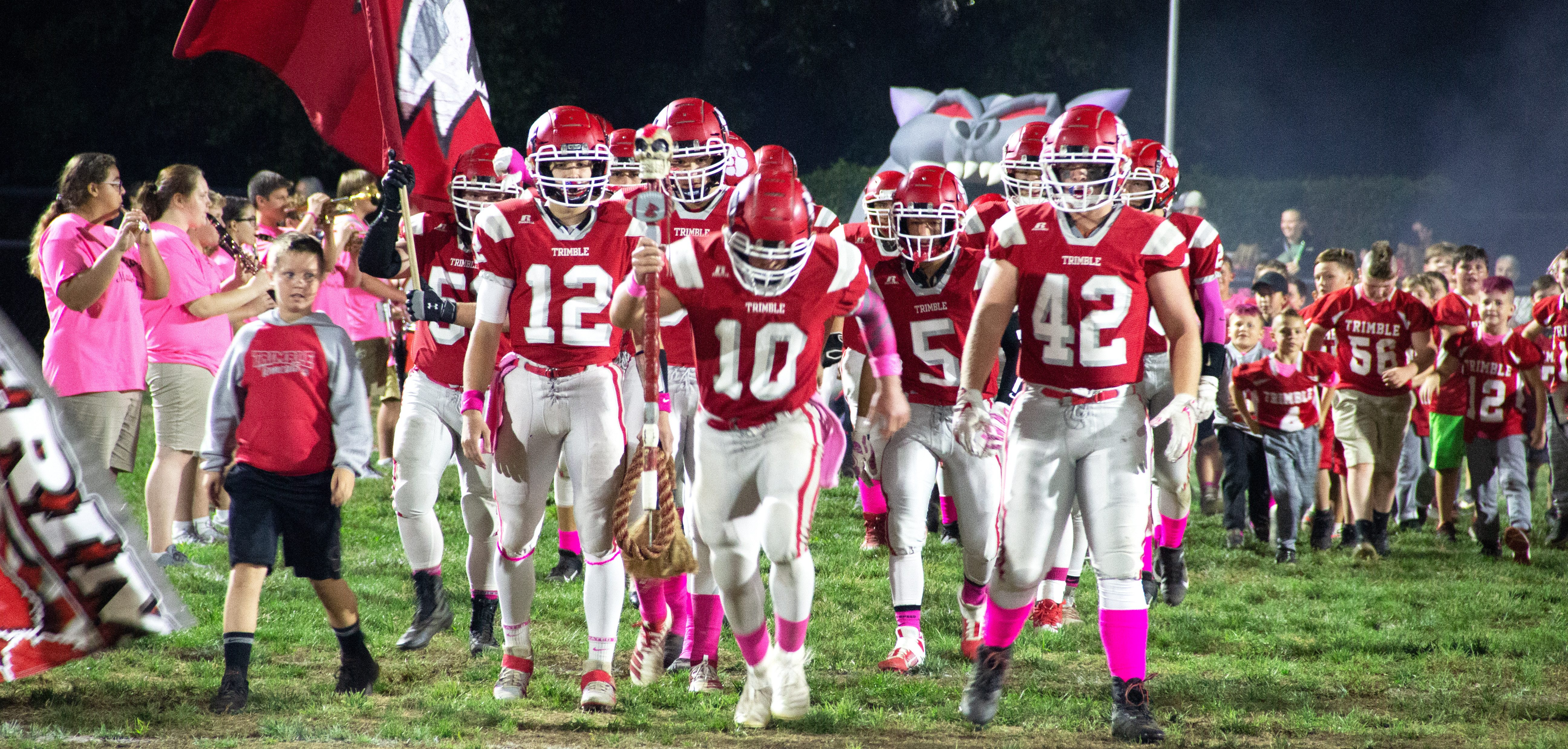Trimble Tomcats take the field against the Miller Falcons on October 12, 2019