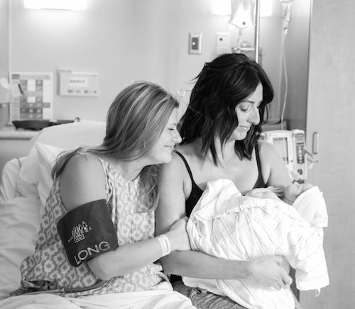 Nicole and Shannon - in hospital bed with baby
