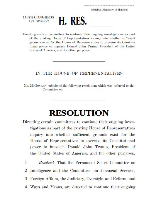 Page one of the House's Draft Impeachment Inquiry Resolution