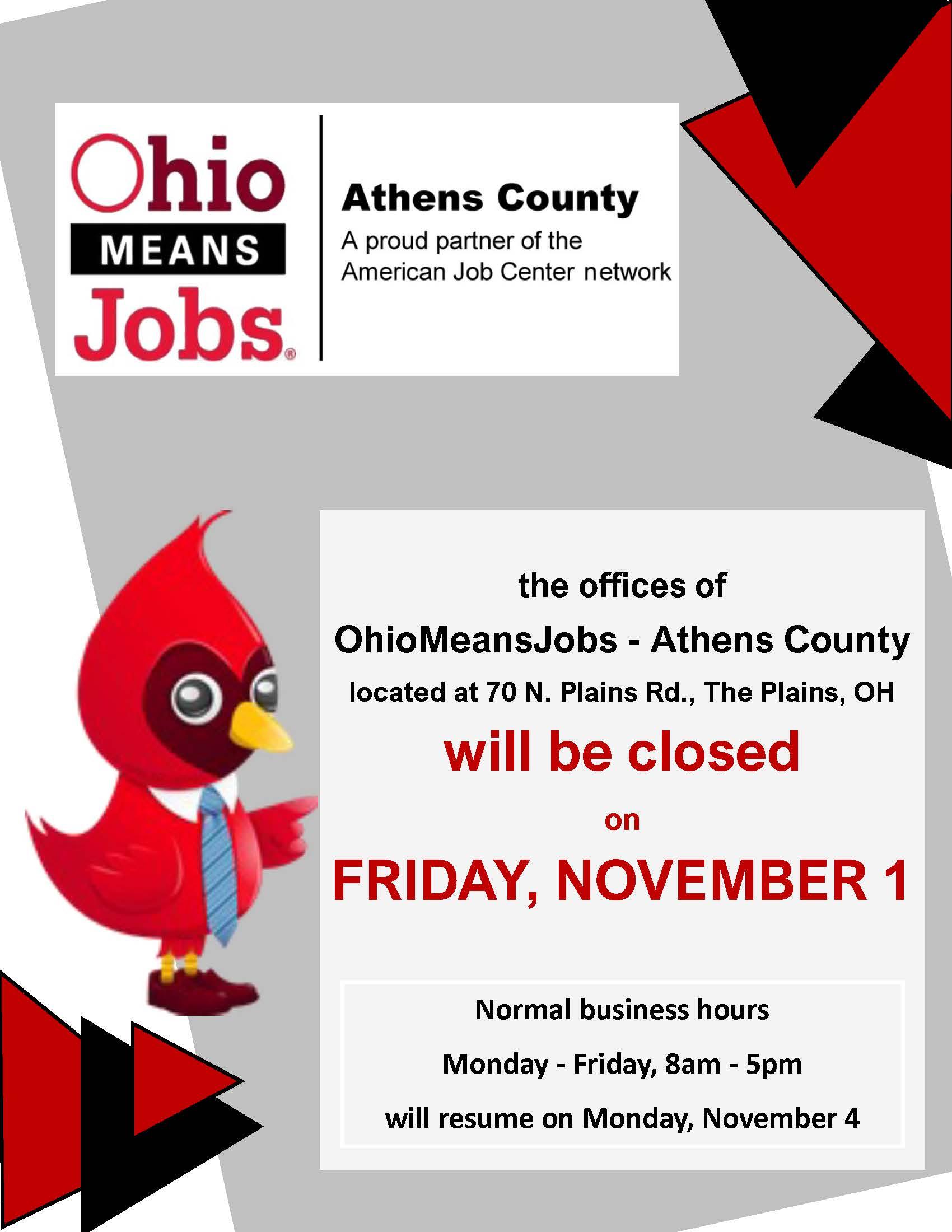 Ohio Means Jobs closed flier