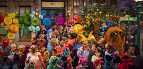 Massive group shot of everyone from Sesame Street