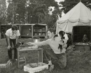 Durrell family feeding wild animals