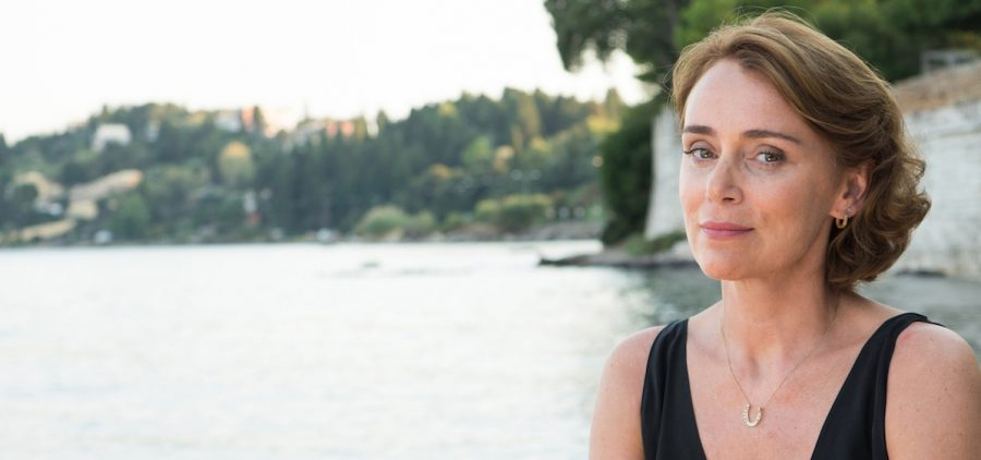 Keeley Hawes from the Durrells photo in front of lake