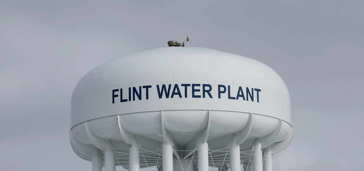 The Flint Water Plant tower in 2016.