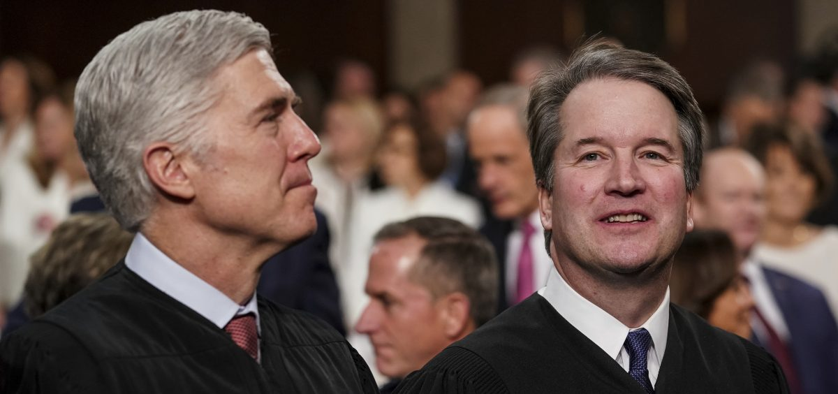 Justice Neil Gorsuch (left), with Justice Brett Kavanaugh, asked many of the key questions in Tuesday's case before the U.S. Supreme Court that centered on whether employers can fire gay or transgender workers.