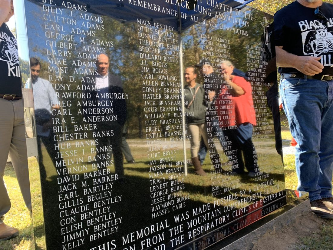 The memorial lists hundreds of local miners who have died from black lung.