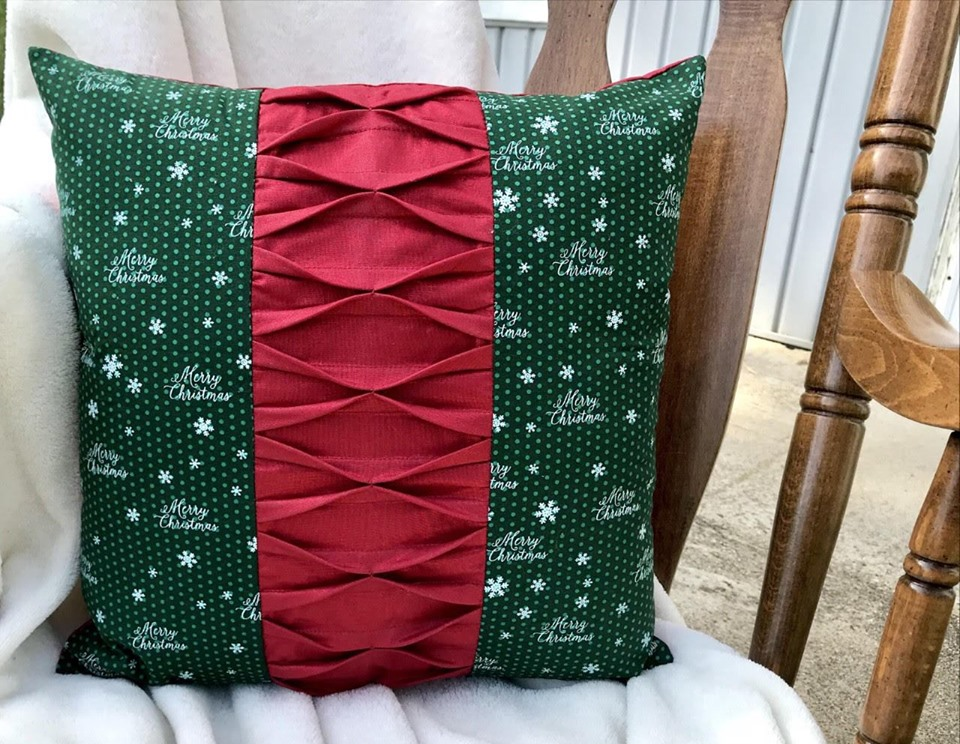 A festive holiday pillow