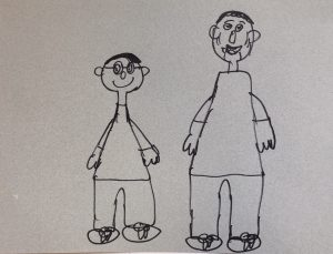 A drawing of a father and son