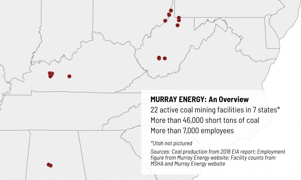 A map shows Murray Energy mine locations