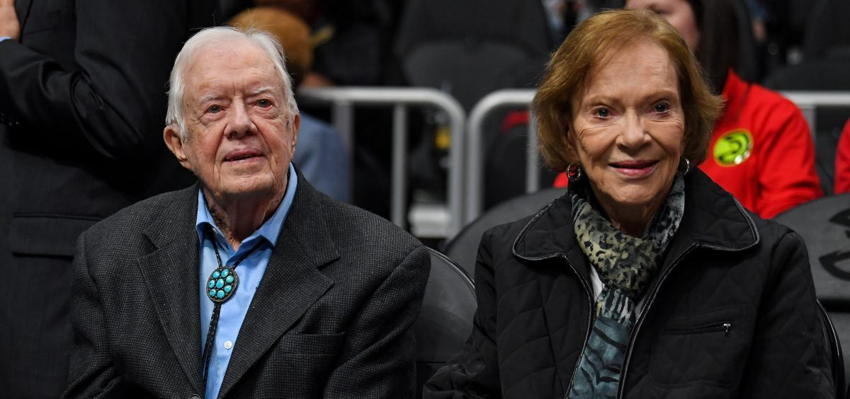 "After being taken to a hospital for observation and treatment of a minor pelvic fracture, former President Jimmy Carter ""is in good spirits and is looking forward to recovering at home,"" the Carter Center says. He's seen here with his wife, Rosalynn Carter, earlier this year."