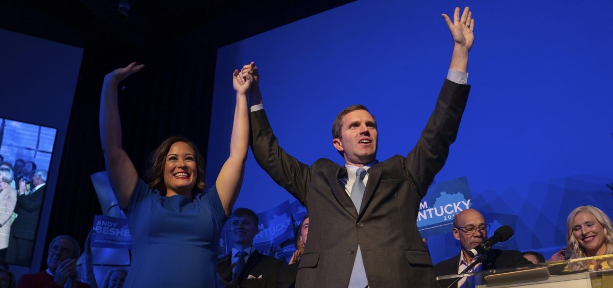 Democratic gubernatorial candidate and Kentucky Attorney General Andy Beshear, along with lieutenant governor candidate Jacqueline Coleman, acknowledge supporters at the Kentucky Democratic Party election night watch event, Tuesday, Nov. 5, 2019, in Louisville, Ky.